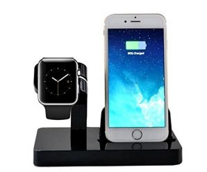 Apple Watch Stand, iPhone Charging Stand Holder,IPELY Charging Stand Docking Station Dock Cradle for Apple Watch and iPhone