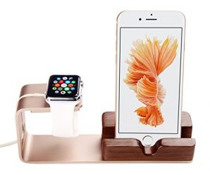 Apple Watch Charging Stand, iPhone 6 Dock,iVAPO 2 in 1 Aluminum & Wood Apple Watch Charging Dock for iWatch 38mm/42mm, iPhone Stand Holder for iPhone 5/5S/5C/6/6 Plus/6s /6s Plus(MM609) (Gold)