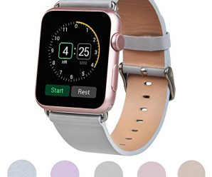 TOROTOP 38mm Genuine Leather Strap Wrist Band Replacement for Apple Watch(38mm-light gray)