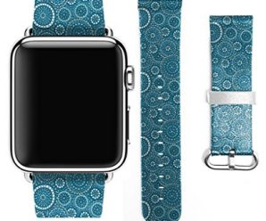 Apple Watch Strap Band Apple Watch 38MM – Strap Band High Quality Premium Strap Band Accessories for Apple Watch 38MM Retro Blue Circle Pattern