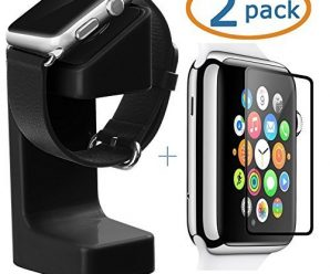 Amuoc Apple Watch Stand+2-Pack Apple Watch Tempered Glass Screen Protector, Apple Watch Holder Silicone Charging Mount Cradle