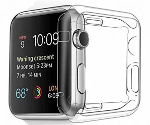 Apple Watch Case, Fivefish iWatch Built-In Screen Protector Ultra-Thin Full Coverage All-around Extreme Protective Premium Clear TPU Soft Cover for Apple i Watch All Models 2015 Release – 42mm