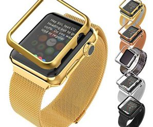 Apple Watch Band with Protective Case(38MM), Bandmax Apple Watch/Watch Sport/Watch Edition Accessories 18K Gold Plated Stainless Steel Milanese Loop with Magnet Lock