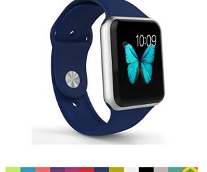 Apple Watch Band – WantsMall Soft Silicone Sport Style Replacement iWatch Strap for 38mm Apple Watch Models (Midnight blue)