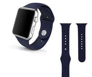 Apple watch band,Soft Silicone Sport Style Replacement for 42mm Apple Watch All Models(3 pieces of refined bands included for 2 lengths)-Midnight Blue