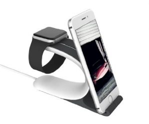 Apple Watch Stand,Kartice 2 in 1 Charging Stand/Charging Dock Cradle Holder for Apple Watch iWatch &iPhone.For Apple Watch 38mm &42mm. (silicon stand black)
