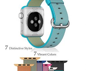 Apple Watch Band, Biaoge Woven Nylon Wrist Strap Replacement Band With Classic Buckle for Apple iWatch (Nylon – 38mm Scuba Blue)