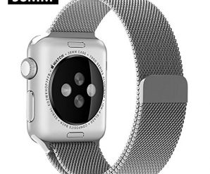 OULUOQI Apple Watch Band Milanese Loop Strap Magnetic Closure Stainless Steel Silver 38mm