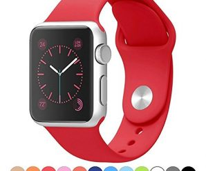 Apple Watch Band,Goodidus Soft Silicone Fitness Replacement Sport Band for Apple Watch L Size(Red 42MM)