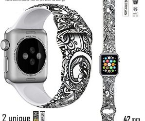 Apple Watch Band (Fantasia De Feleurs) – Unique Design By Famous Designer MADI BEKDAIR and box design by RUSS FISHER – Soft TPU Silicone Apple Watch Replacement Band With Pin & Tuck 42mm (S/M Size)