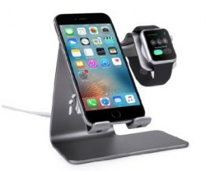 Bestand 2 in 1 Phone Desktop Tablet Stand & Apple Watch Charging Stand Holder for Apple iWatch/ iPhone/ ipad (Space Grey)
