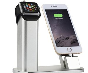 Apple Watch Stand, Nexgadget 2 in 1 Aluminum Charging Station Desktop Stand Dock Cradle Holder With Free Lightning Cable for Apple Watch, iPhone and iPad