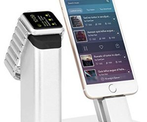 Ziku Z808 Aluminum Apple Watch Stand with 2 in 1 Charging Stand Dock Station for Apple Watch Series 2 – Silver