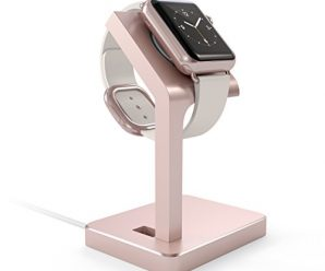 Satechi Apple Watch Stand, Aluminum Charging Dock Apple Watch Charging Stand Station iWatch Charger Bracket with Comfortable Viewing Angle for Apple Watch 42mm & 38mm All Models (Rose Gold)