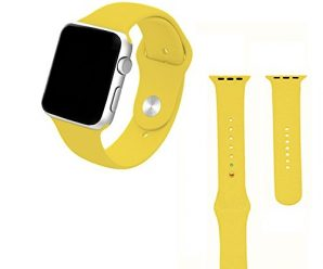 Apple watch band,Soft Silicone Sport Style Replacement for 42mm Apple Watch All Models(3 pieces of refined bands included for 2 lengths)-yellow