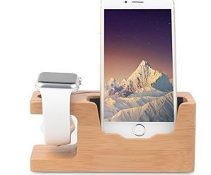 Apple Watch Bamboo Wood Charging Stand, iPhone 7 Charger Dock Station Holder for All iPhone 7 / 7Plus / 5S / 6s / SE 6 Plus / 6 – Support Apple Watch docking / 38mm 42mm, Bamboo Wood