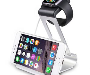 SPARIN Apple Watch Series 2 Stand, Aluminum Stand Charge Station for Apple Watch and iPhone, Fit all Apple Watch Models, [Premium Stylus Pen], Silver