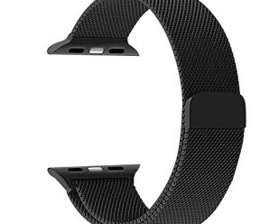 Apple Watch Band, JETech 42mm Milanese Loop Stainless Steel Bracelet Strap Bands – Black