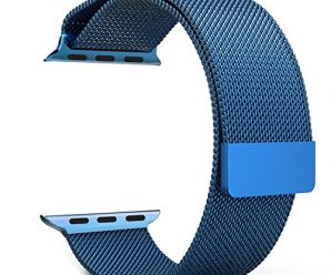Apple Watch Band Series 1 Series 2, with Unique Magnet Lock, MoKo Milanese Loop Stainless Steel Bracelet Smart Watch Strap for iWatch 42mm All Models, No Buckle Needed – BLUE (Not Fit iWatch 38mm)