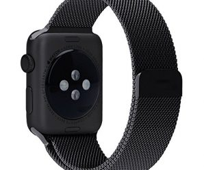Penom Apple Watch Band, 38mm Mesh Loop w Fully Strong Magnetic Stainless Steel Closure Clasp Milanese Strap for Apple iWatch Sport & Edition – Black