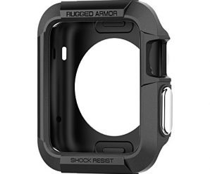 Spigen SGP11496 Rugged Armor Case with with Resilient Shock Absorption and 2 Screen Protectors for Apple Watch (42mm) – Black
