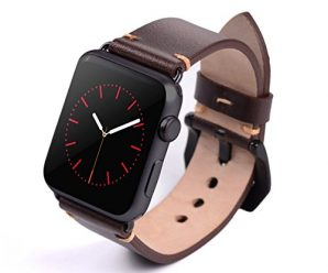 Apple Watch Band, 42mm Vegetable Tanned Leather Watchband For iWatch (Dark Brown Black Adaptor)