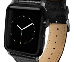 Apple Watch Band, Top-Grain Genuine Leather Watchband for 42mm Apple Watch by Silk® – Secure Metal Buckle & Adjustable Strap – (Black Leather)