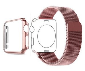 Apple Watch Band, Biaoge Steel Milanese Loop Replacement Wrist Band with Plated Case for Apple Watch 42mm Series 1 only (2015)(Rose Gold 42mm)
