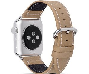 Apple Watch Leather Band, Fullmosa Mosa Texture Full-Grain Leather iWatch Replacement Wristband with Metal Clasp for iWatch Series1 Series2, 38mm Brown