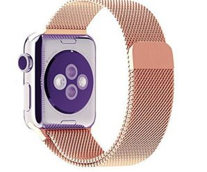Original Design Magnetic Milanese Loop Watch Band for Apple Watch Strap Woven Stainless Steel Mesh + Connector Adpater (rosegold/38mm)