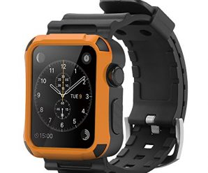Apple Watch Case,[Simpeak] Rugged Protective Case with Strap Bands and Matte Screen Protector for 42mm Apple Watch Black-Orange