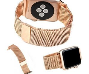 top4cus Apple Watch Band 38mm Double Plating Milanese Fully Magnetic Closure Clasp Mesh Loop Stainless Steel iWatch Band Replacement Bracelet Strap for Apple Watch 38mm Model-Champagne Gold