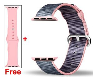 Free Silicone Band,Inteny Apple Watch Band Series 1 Series 2 Colorful Pattern Woven Nylon Band Replacement Wrist Bracelet Strap Buckle for iWatch,38mm,Light Pink&Midnight Blue