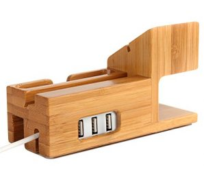 Amir Bamboo Wood USB Charging Station, Desk Stand Charger, 3 USB Ports, for iPhone 7/6s/6/5s & 38mm/42mm Apple Watch