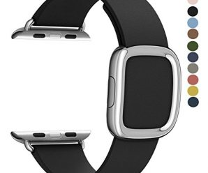 JSGJMY Apple Watch Band 38mm Cuff Leather Loop Original Modern Buckle With Magnetic Clasp Replacement Strap for iwatch Series1 Series2 (Black+Silver Buckle, 38MM M)
