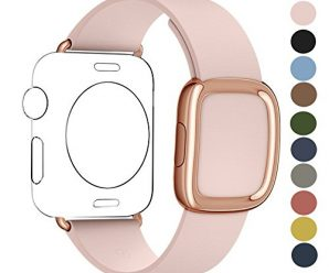 JSGJMY Apple Watch Band 42mm Cuff Leather Loop Original Modern Buckle With Magnetic Clasp Replacement Strap for iwatch Series1 Series2-Small Size (Soft Pink+Rose Gold Buckle, 42mm S)