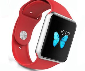 Apple Watch Band – WantsMall Soft Silicone Sport Style Replacement iWatch Strap for 38mm Apple Watch Models (Red)