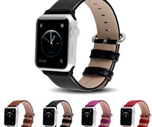 Apple Watch Bands 42mm, Fullmosa Yan Series Lichi Calf Leather Strap Replacement Band with Stainless Metal Clasp for Apple Watch Series 1 Series 2,Black