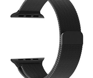 Apple Watch Band, Penom Fully Magnetic Closure Clasp Mesh Loop Milanese Stainless Steel Bracelet Strap for Apple iWatch Sport & Edition 38mm – Black