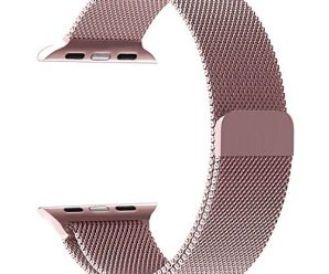 Apple Watch Band, PUGO TOP Milanese Loop Stainless Steel Mesh Replacement Band for Apple Watch Series 2 Series 1 42mm, Rose Gold