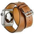 Valkit Leather Double Tour Apple Watch Band with Adapter Clasp, 38mm, Brown