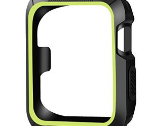 OULUOQI Apple Watch Case 42mm, 2 colors Design[Patent Pending], Shock-proof and Shatter-resistant Protective iwatch Case for Apple Watch Nike+, Series 2, Series 1, Sport, Edition- Black / Volt Yellow