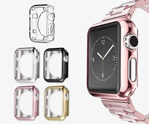 Apple Watch 2 Case 42mm, UMTELE Plated TPU Case, Scratch-resistant Slim Full Body Protective Cover for Apple Watch Series 1, Series 2, 42mm, Jet Black, Pack of 5