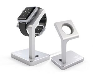 apple Watch Stand, CASEKING Aluminum Charging Dock Apple Watch Charging Stand Station iWatch Charger Bracket with Comfortable Viewing Angle for Apple Watch 38mm & 42mm All Models (Silver)