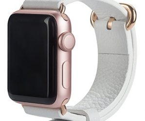 Apple Watch Band 38mm, amBand Premium Genuine Leather iWatch Replacement Strap with Rose Gold Modern Buckle and Metal Clasp for Apple Watch Series 2 Series 1 Sport & Edition White