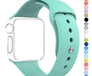 Apple Watch Band, HuanlongTM New Soft Silicone Sport Style Replacement Iwatch Strap for Apple Wrist Watch (Mint Green 38mm S/M)