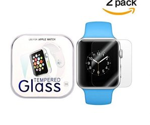 Apple Watch 38mm Smart Watch Screen Protector, Wtbone Tempered Glass [9H Hardness],[ Anti-Scratch],[Anti-Fingerprint](2 pack)