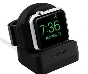 TomRich T50 Apple Watch Stand with Nightstand Mode for Apple Watch Series 1 / Series 2 / 42mm / 38mm Scratch-Free with intergrated Cable Management Slot – Black