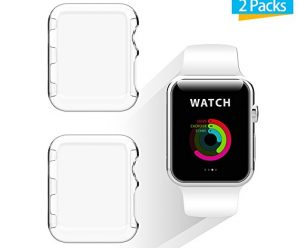 Apple Watch 38mm Case, iXCC 2-Pack New Design Slim Clear PC Hard Screen Protector Case Cover for Apple Watch Series 2 38mm 2016 – Clear