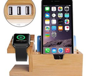 Apple Watch Stand,Phone Stand,Ptuna Bamboo Wood Charging for iPhone,Smart Phone,Apple Watch With 3 Ports USB HUB